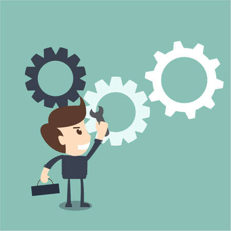 process improvement concept  - businessman with a wrench