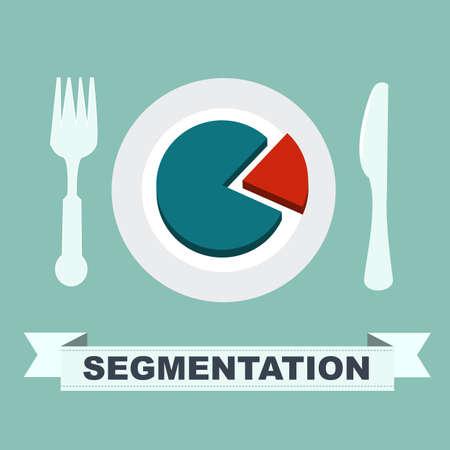 segmento: segmentazione concept - grafico su un piatto, un segmento � separato