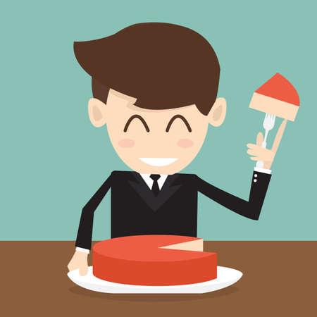 stockholder: The businessman cutting big cake piece  Illustration