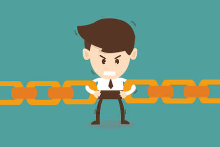 the strongest: Businessman link chain together - Business concept  Illustration