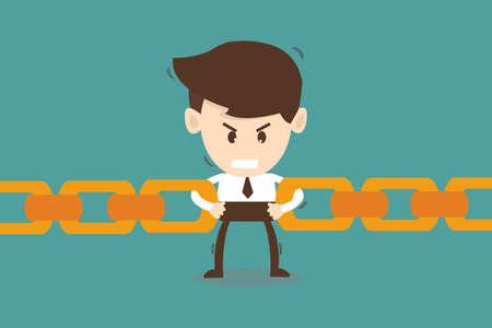 interconnect: Businessman link chain together - Business concept  Illustration