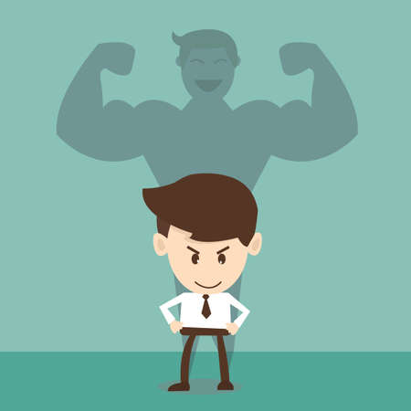 strong arm: Businessman a shadow of an athlete - commitment and career strength concept