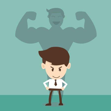 la union hace la fuerza: El hombre de negocios de una sombra de un atleta - concepto de compromiso y la fuerza de carrera