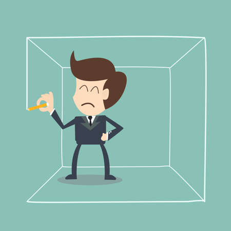 point of demand: barriers that yourself build - businessman draw box  their own