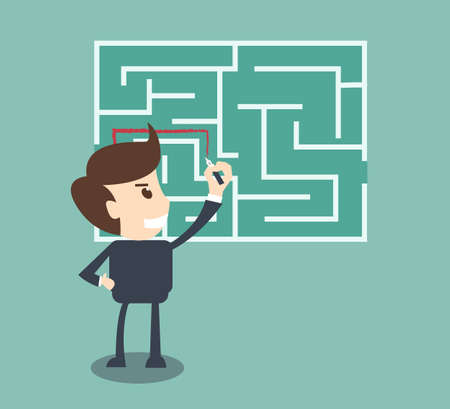 Businessman finding the solution of a maze  Vectores