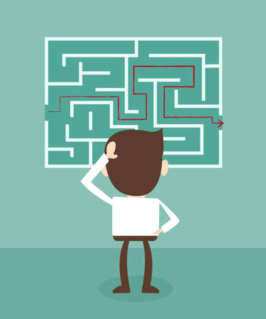 confusion: Confused, businessman looking at the red arrow through the labyrinth Illustration
