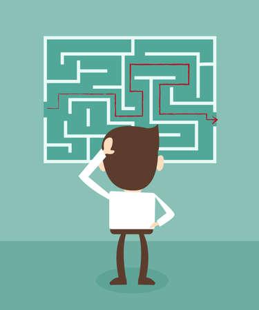 Verward, zakenman kijken naar de rode pijl door het labyrint