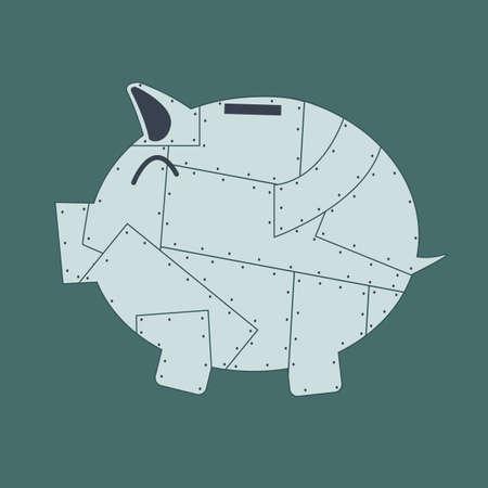 armored piggy bank Vector