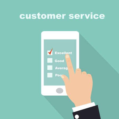 携帯電話の画面上の顧客サービス調査フォーム  イラスト・ベクター素材