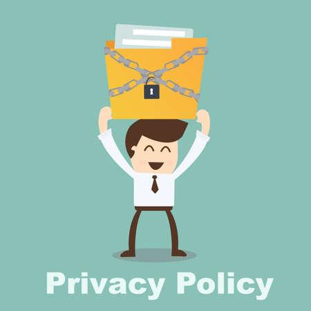 プライバシー ポリシー概念実業家保持ファイル