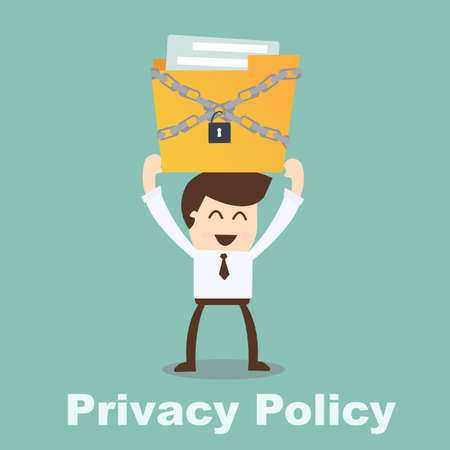 privacy policy concept- businessman holding file Vector
