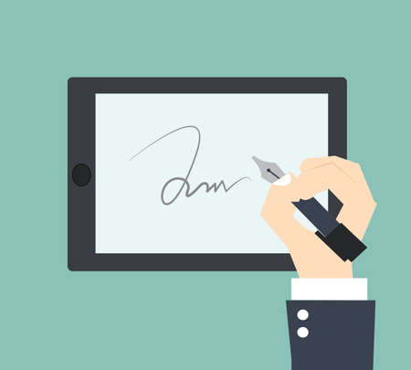 digital signature on sign pad Banco de Imagens - 29379585