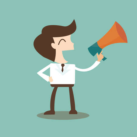 public speaking: public relations - businessman talking through a bullhorn