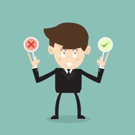 businessman thinking with right and wrong symbol Vector
