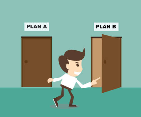 Businessman choosing doors Plan B