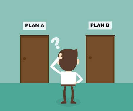indeciso: Concepto de hombre de negocios de elegir la puerta