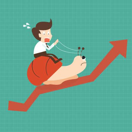 Empresario andar caracol camina lentamente sobre el crecimiento de la flecha Ilustración de vector