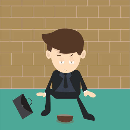 beggar businessman Vector