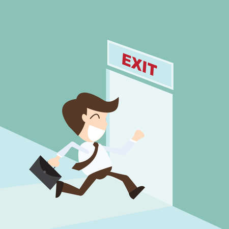 emergency light: Exit - Businessman running exit door sign , emergency