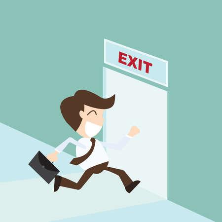 door sign: Exit - Businessman running exit door sign , emergency