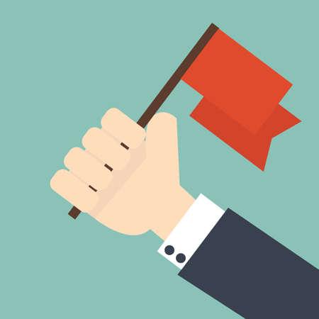 achievement concept - Businessman holding winner flag Illustration
