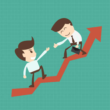Financial adviser or business mentor help team partner up to profit growth