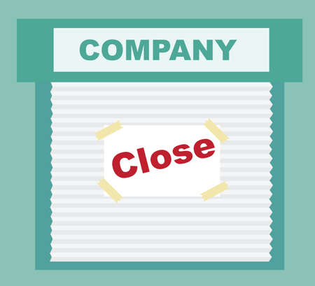dilapidated: Closed Sign - business that has gone bankrupt Illustration