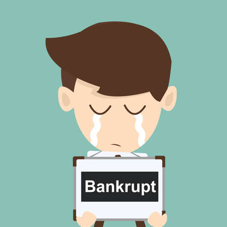 unsuccessful: Businessman Bankrupt  Illustration