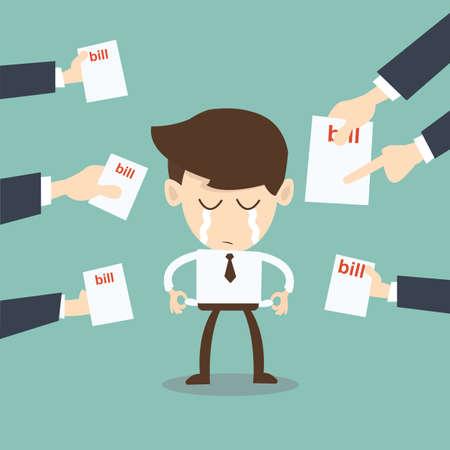 empty pocket: hombre rompi� molesten los acreedores tenedores de facturas, los signos, los requerimientos de pago Vectores