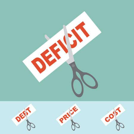 thrift: Cortar el d�ficit, el precio, el costo, la deuda - concepto de corte