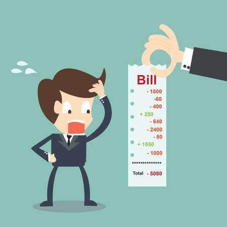 Worried Businessman looking his bills  Finance concept