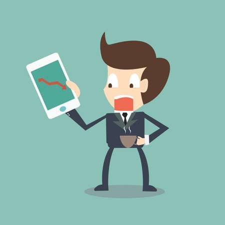 Stressful businessman looking arrow statistic on screen of smart phone