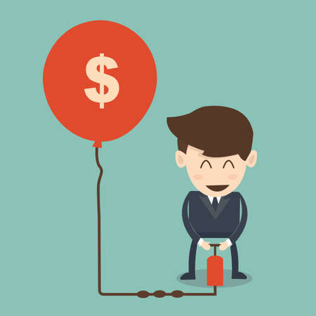 Higher rates concept  - businessman pumping air in dollar balloon  Ilustração