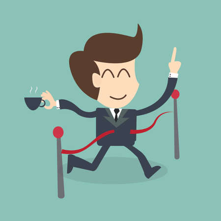 Success Feel Easy - Businessman crossing the finish line  Vector