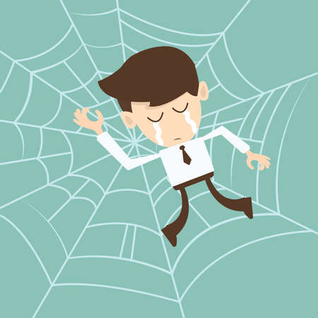 Businessman trapped in spider web