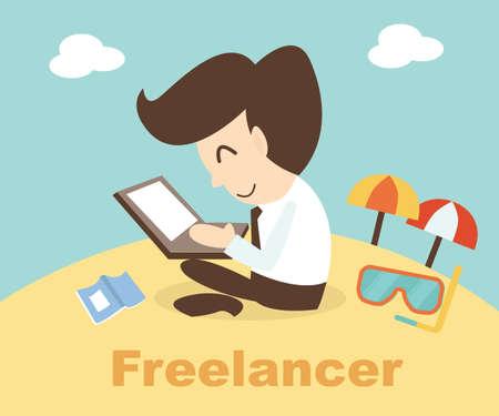 Freelancer Konzept - Geschäftsmann mit Laptop am Strand entspannen Standard-Bild - 29675029