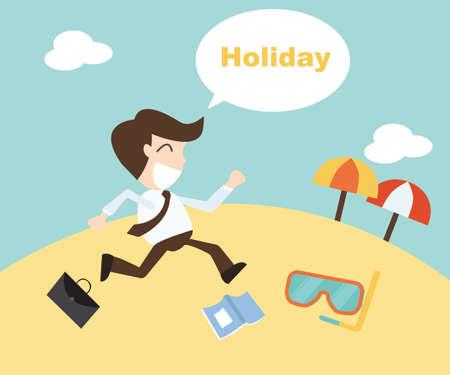 Businessman running on the beach. Summer vacation Vector