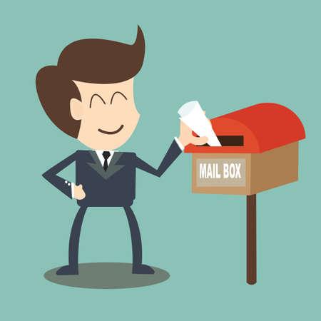 businessman receiving the mail - mailbox