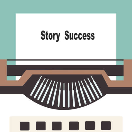 attain: typewriter with share your story success text
