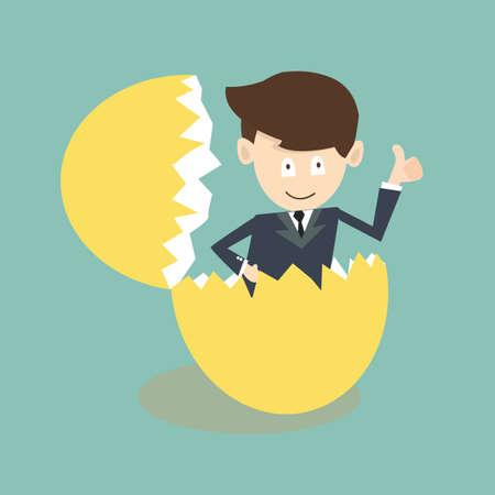 breaking out: Empresario salir de una c�scara de huevo
