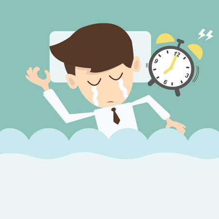 사업가 게으른 아침에 알람 시계를 가지고 일러스트