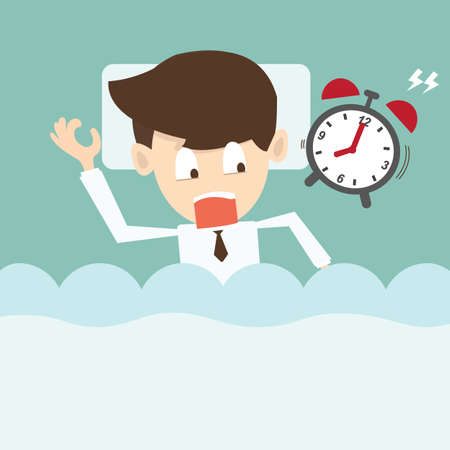 businessman  with alarm clock lateness or a deadline Vector