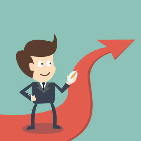 surrealistic: Businessman with compass on arrow direction success - business concept