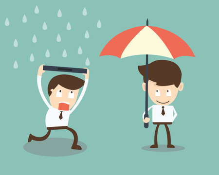 businessman with protection from rain economic crisis Ilustracja