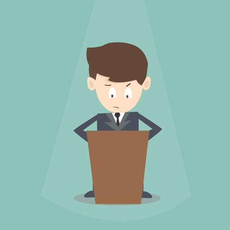 businessman diffident to speak