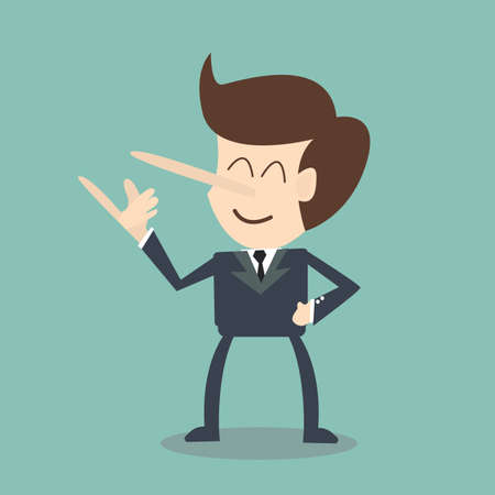 trickster: businessman is lying Illustration