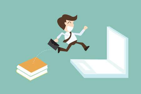 migraci�n: migraci�n de tecnolog�a con el empresario saltando libro para laptop