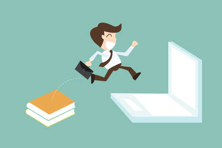 transition: technology migration with businessman jumping book to laptop Illustration