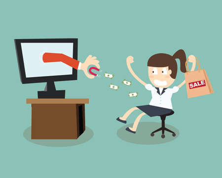 remorse: Debt shopping - Magnet attracts money business woman with laptop