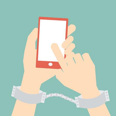 社会的なメディア、インターネットの常習の概念  イラスト・ベクター素材